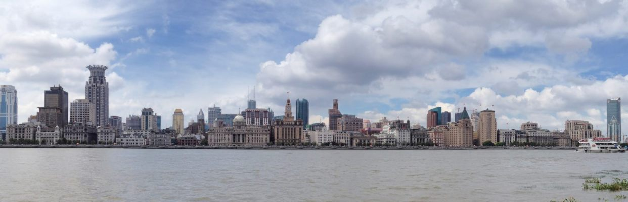 Le Bund, vu depuis Lujiazui, le quartier d'affaires de Pudong
